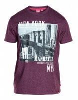 T-shirt Wesley New York Vinröd